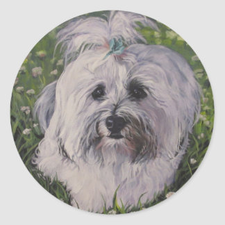Beautiful Realistic Havanese Dog Art Painting Classic Round Sticker