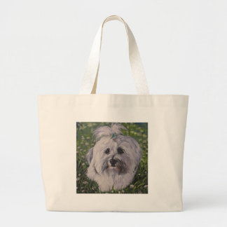 Beautiful Realistic Havanese Dog Art Painting Large Tote Bag