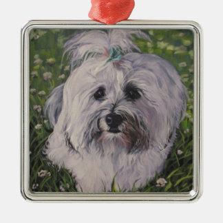 Beautiful Realistic Havanese Dog Art Painting Metal Ornament