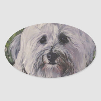 Beautiful Realistic Havanese Dog Art Painting Oval Sticker
