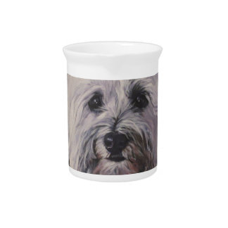 Beautiful Realistic Havanese Dog Art Painting Pitcher