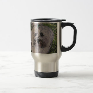 Beautiful Realistic Havanese Dog Art Painting Travel Mug