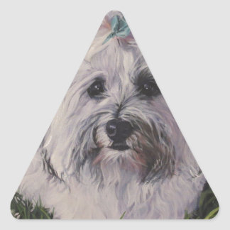 Beautiful Realistic Havanese Dog Art Painting Triangle Sticker
