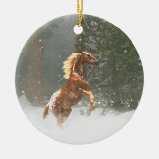 Beautiful Rearing Appaloosa Horse in the Snow Ceramic Ornament