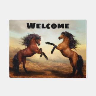 Beautiful Rearing Buckskin and Bay Horses Doormat