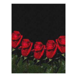 Beautiful Red Abstract Roses Letterhead Template