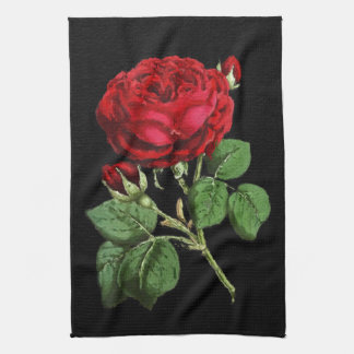 Beautiful Red Abstract Texture Rose Kitchen Towel