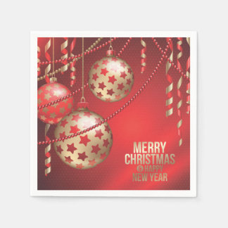 Beautiful Red and Golden Christmas Balls Disposable Napkin