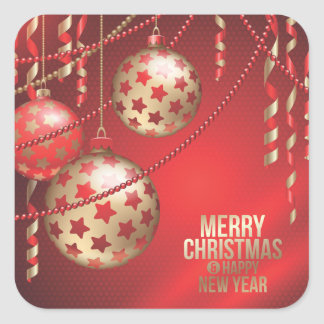 Beautiful Red and Golden Christmas Balls Square Square Sticker