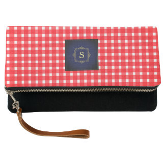 Beautiful Red and White Check Monogram Bag