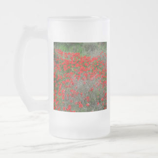 Beautiful Red Anemone Flowers In A Spring Field Frosted Glass Beer Mug