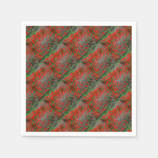 Beautiful Red Anemone Flowers In A Spring Field Paper Napkins