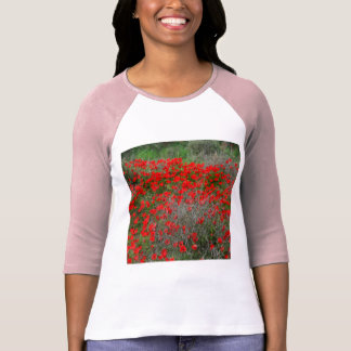 Beautiful Red Anemone Flowers In A Spring Field T-Shirt
