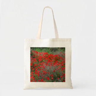 Beautiful Red Anemone Flowers In A Spring Field Tote Bag