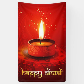 Beautiful Red Background Happy Diwali Banner
