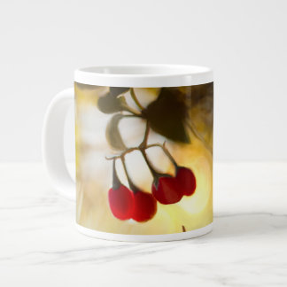 Beautiful red berries in the morning sunlight large coffee mug