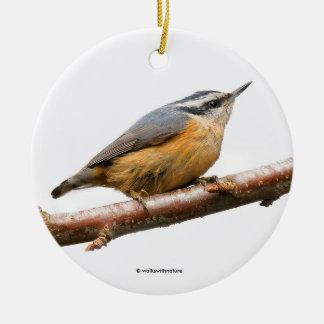 Beautiful Red-Breasted Nuthatch on a Branch Ceramic Ornament