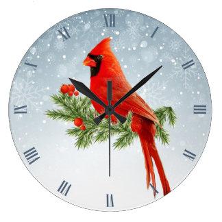 Beautiful red cardinal bird on snow background large clock