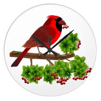 Beautiful Red Cardinal Large Clock