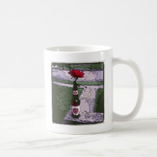 Beautiful Red Carnation in a Beer Bottle Mug