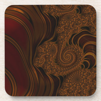 Beautiful Red Cherry Caramel Fractal Coaster