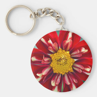 Beautiful red dahlia print basic round button keychain