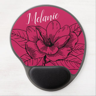 Beautiful red flower gel mouse pad