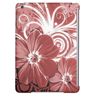 Beautiful red Flowers Swirl abstract vectror art Cover For iPad Air