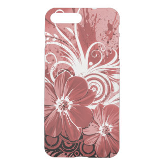 Beautiful red Flowers Swirl abstract vectror art iPhone 8 Plus/7 Plus Case