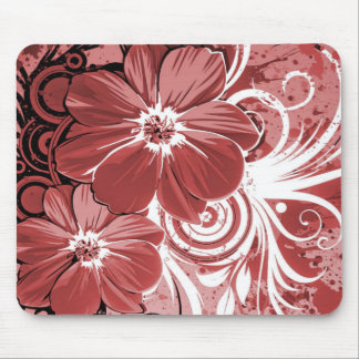 Beautiful red Flowers Swirl abstract vectror art Mouse Pad