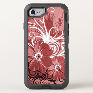 Beautiful red Flowers Swirl abstract vectror art OtterBox Defender iPhone 8/7 Case