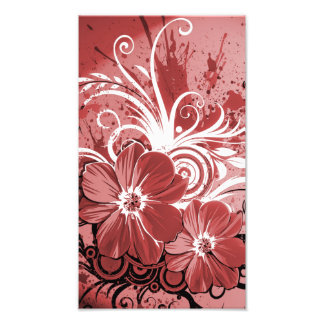 Beautiful red Flowers Swirl abstract vectror art Photo