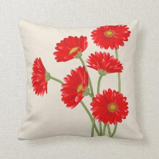 Beautiful Red Gerbera Daisies Throw Pillow