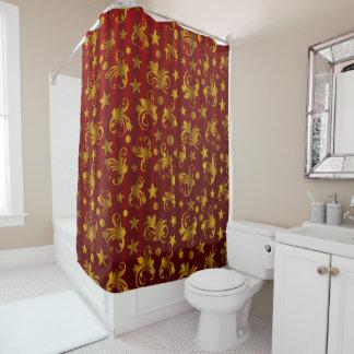 Beautiful Red & Golden Shower Curtain