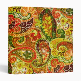 Beautiful Red Green Paisley Floral Pattern Vinyl Binders