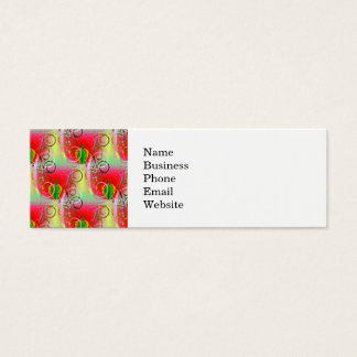 Beautiful Red Green Yellow Spring Floral Vines Mini Business Card