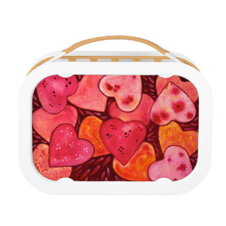 Beautiful Red Hearts Watercolor Lunch Box