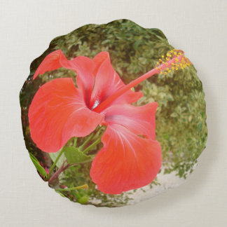 Beautiful Red Hibiscus Flower With Garden Round Pillow