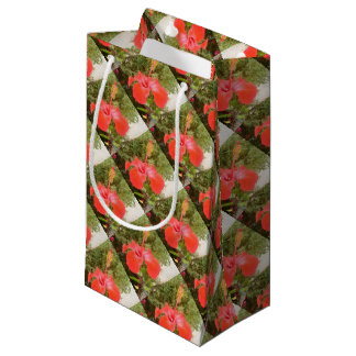 Beautiful Red Hibiscus Flower With Garden Small Gift Bag