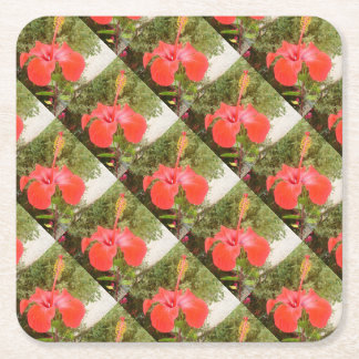 Beautiful Red Hibiscus Flower With Garden Square Paper Coaster