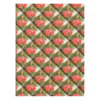 Beautiful Red Hibiscus Flower With Garden Tablecloth