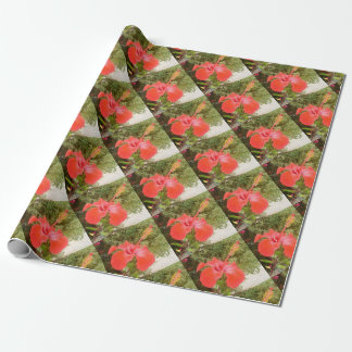 Beautiful Red Hibiscus Flower With Garden Wrapping Paper