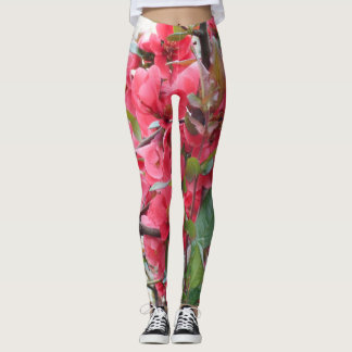Beautiful Red Japanese Quince Leggings