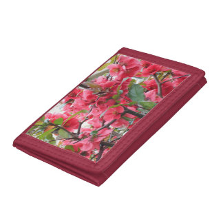 Beautiful Red Japanese Quince Trifold Wallet