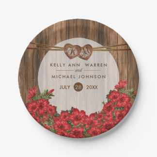 Beautiful Red Lilies on Wood Paper Plate