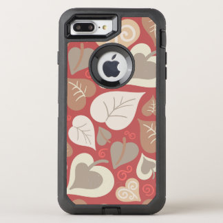 beautiful red love hearts leaves OtterBox defender iPhone 8 plus/7 plus case