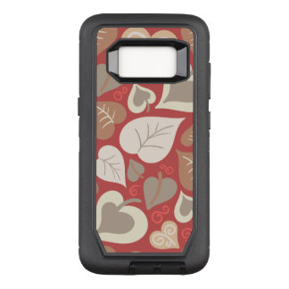 beautiful red love hearts leaves OtterBox defender samsung galaxy s8 case