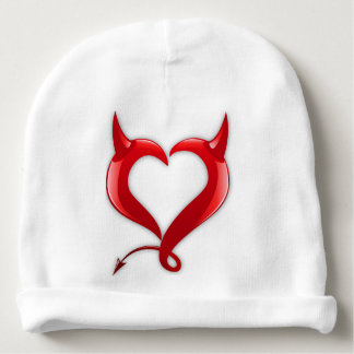 beautiful red love hearts with with devil horns baby beanie