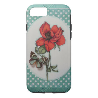 beautiful red/orange tea rose w/butterfly iPhone 7 case