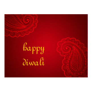 Beautiful Red Paisley Floral Design Happy Diwali Postcard